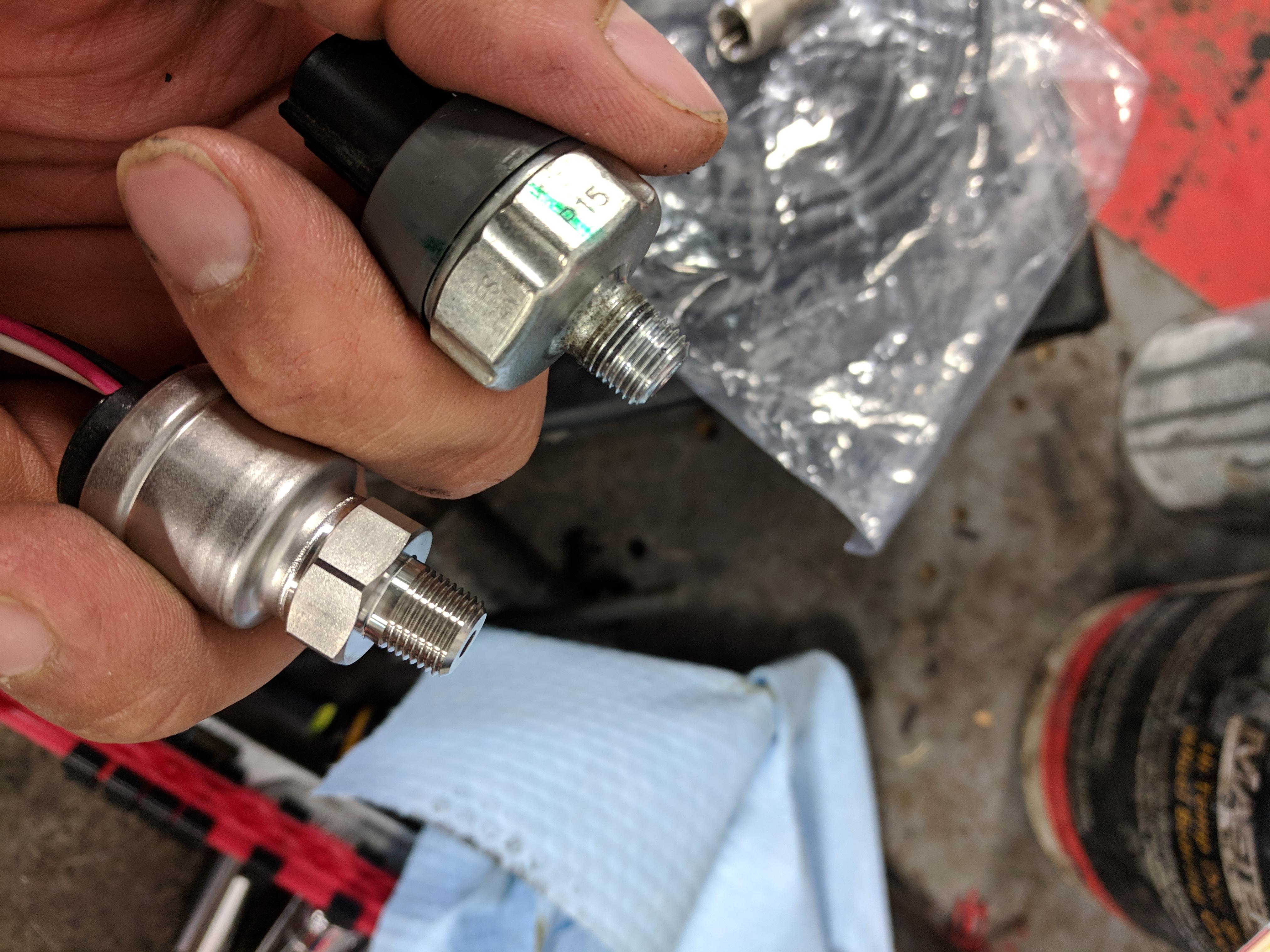 OEM and Defil oil pressure sensors